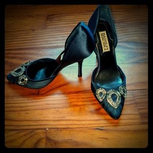 Badgley Mischka jeweled royal blue heels
